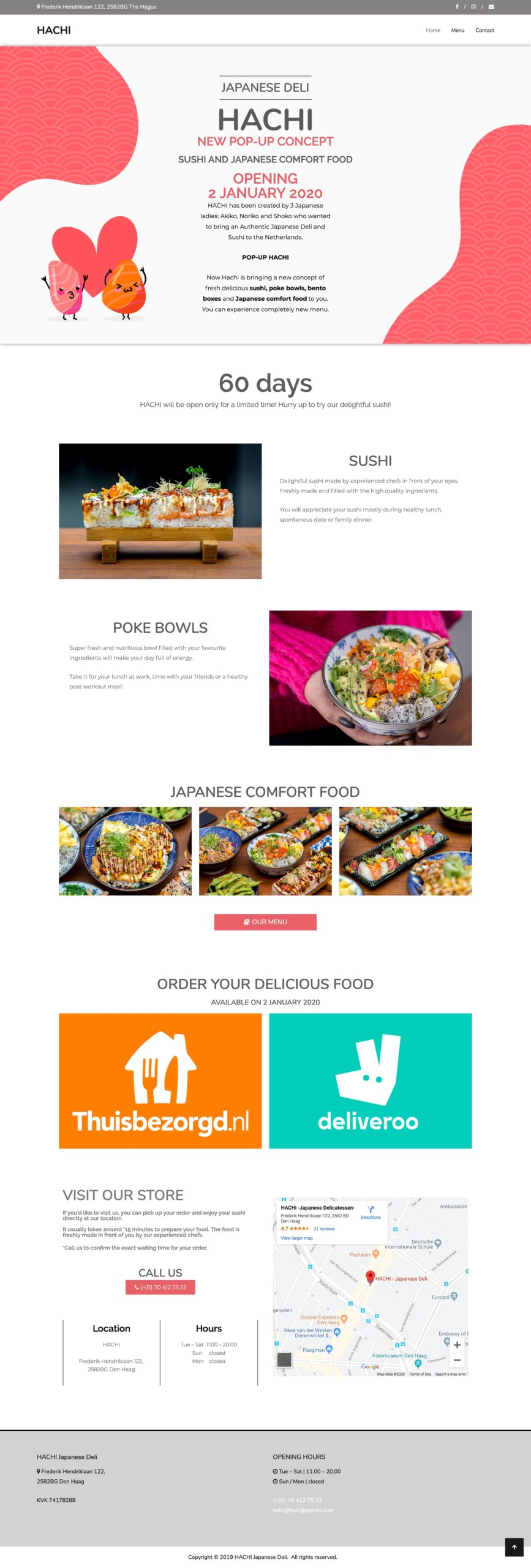 Project: Hachi Restaurant | Hachi Website